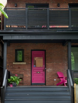 pink front door porch