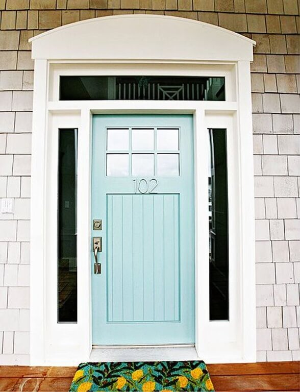 robins egg blue front door