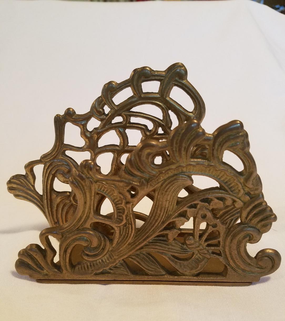 Vintage brass napkin holder. iwannabealady