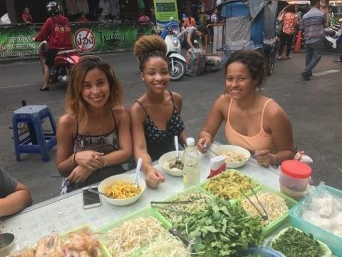 me and girls eating thailand