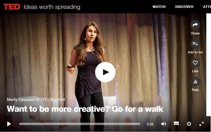 Creativity and Walking iwannabealady.com ted talk productivity creativity